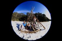 Branch humpy on beach