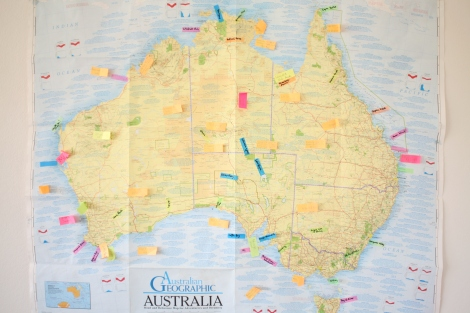 Map of Australia for Travellers & Dreamers - to keep us focused.