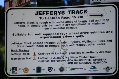 Jefferys Track Sign
