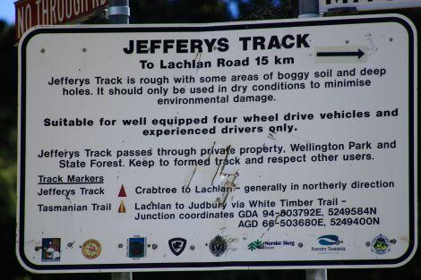 Jefferys Track Sign