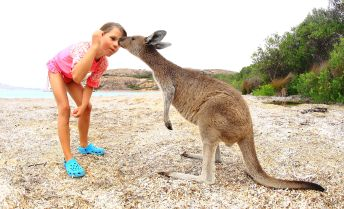 Hannah and friend at Lucky Bay