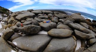 Chilling on the beach boulders