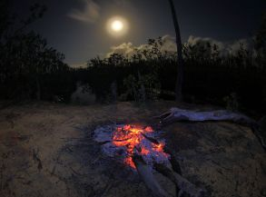 Campfire and full moon at Giddy River