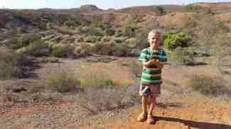 Oscar with school mascot Wilma (on tour)