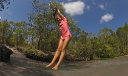 Enjoying the rope swing at Nolans Brook