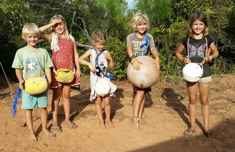 Camp fun with beach flotsam