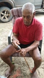 90 year old Eddy making woomeras