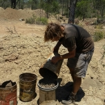 Step 3 - Pouring the gravel extract into a sieve