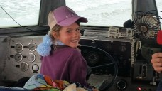 Hannah driving the LARC into the surf