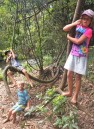 Kids hanging by the falls