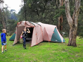Camp on the banks of the Capertee river